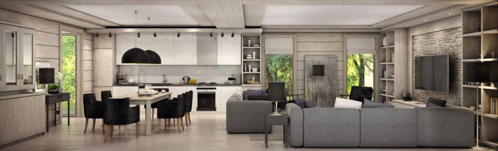 Amerikai konyhás nappali ötletek egysoros konyhával 2