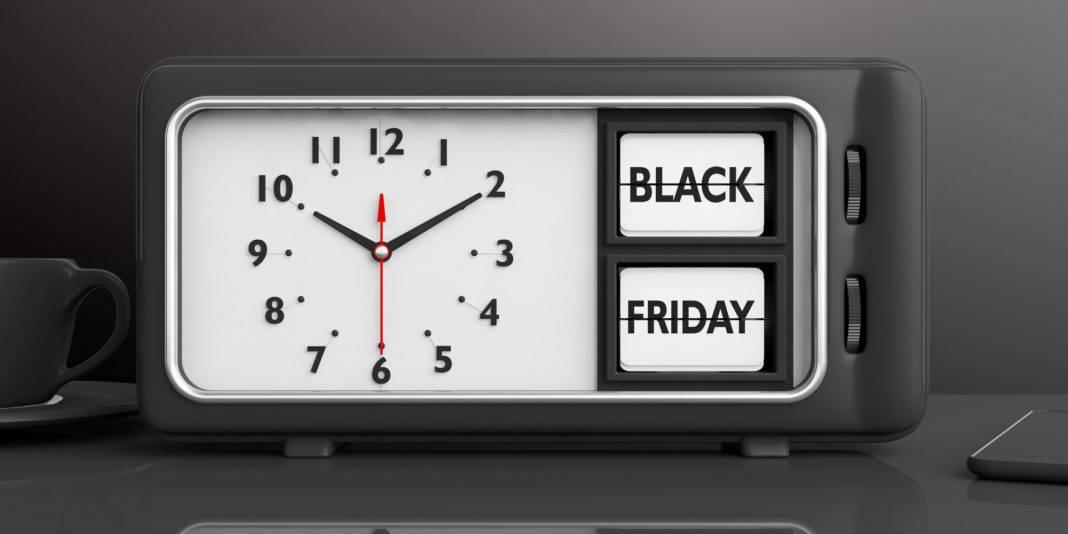 Old retro alarm clock, black Friday, desk, background, 3d illustration