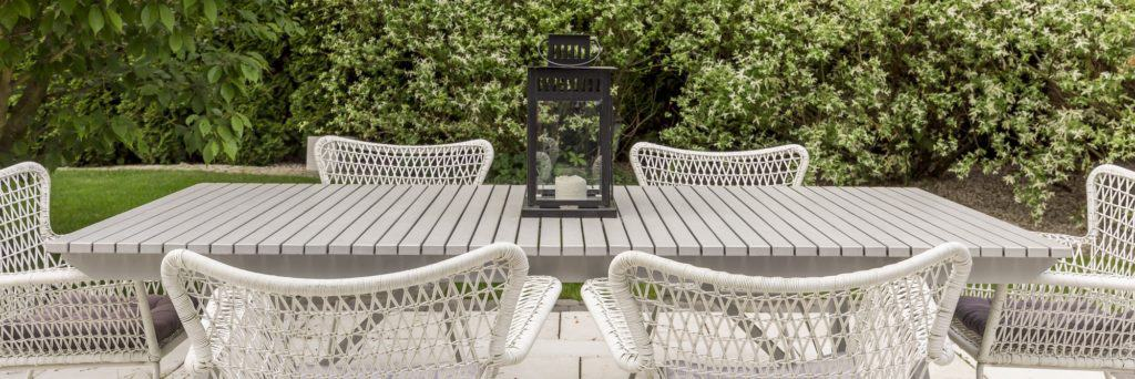 Terrace in the garden with patio chairs and table