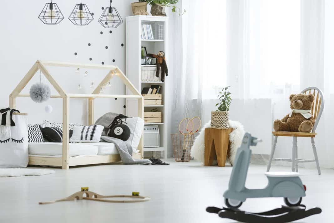 White, child room with toys