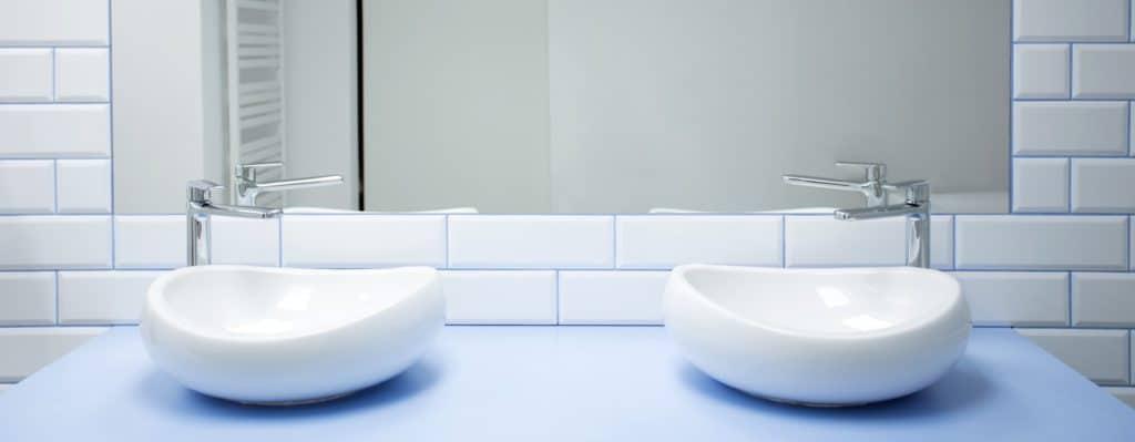 Symmetrical washbasins in bathroom